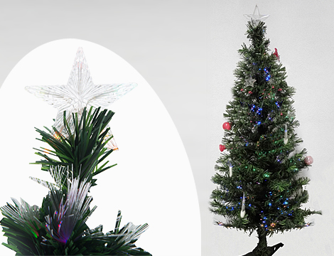 Albero di Natale artificiale con illuminazione a fibra ottica, base in plastica e controller con 8 variazioni di luci.