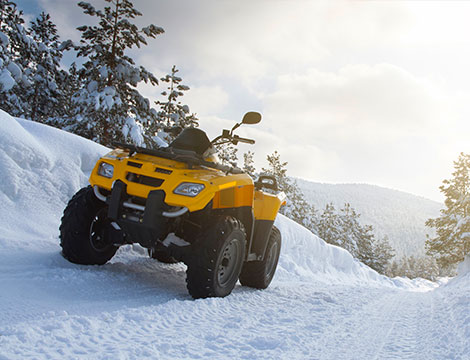 Escursione in quad sulla neve con passeggero