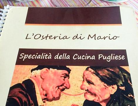 Menu da L'osteria di Mario a Bari