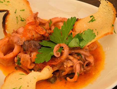 Menu pesce con calici a Bacoli