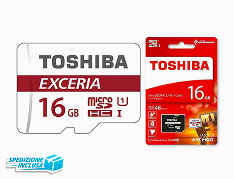 1 o 2 MicroSDXC 32GB con adattatore SD Toshiba Exceria