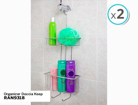2 organizer doccia Keep con gancio 1 o 2 ripiani in acciaio