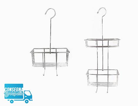 2 organizer doccia in acciaio con gancio