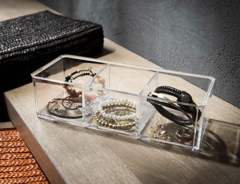 2 organizer bijoux accessori 3 scomparti trasparenti