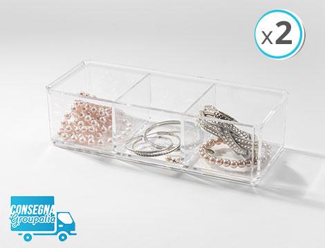 2 organizer trasparenti gioielli a 3 scomparti