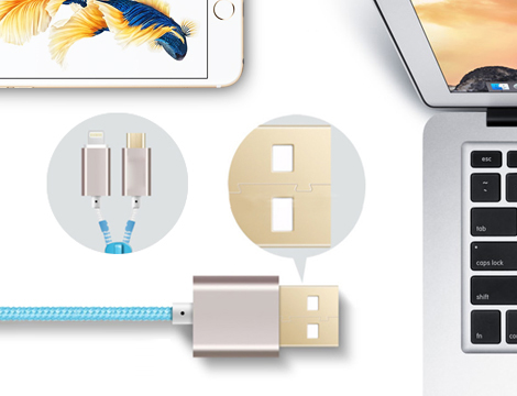 3 Cavi USB con cerniera Zip 2 in 1