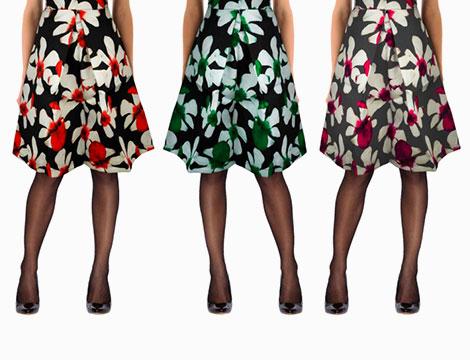3 gonne a fiori stile anni '50