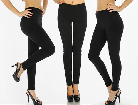 3 leggings black felpa donna_N