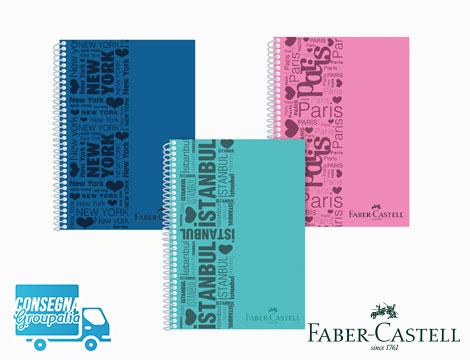 4 quaderni A4 Faber Castell a quadretti a spirale