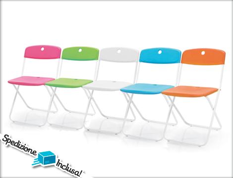 Offerta shopping 4 sedie pieghevoli design groupalia for Sedie arancioni