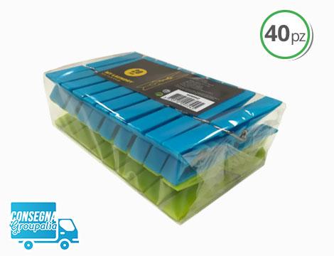 40 mollette per bucato in plastica verdi e azzurre