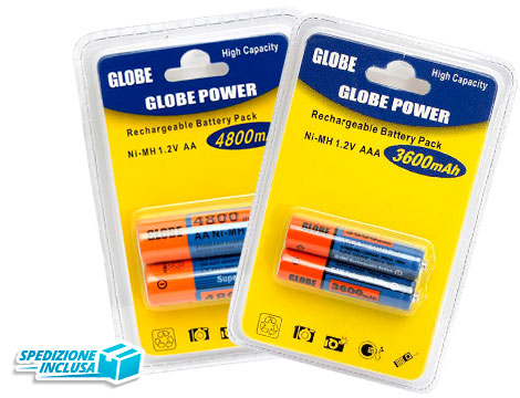 6 batterie ricaricabili Globe Power_N