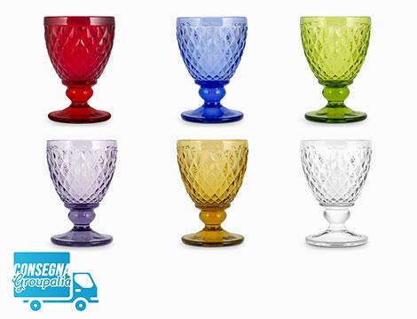 6 calici in vetro H&H Venere
