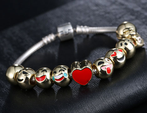 Bracciale con 10 charms emoticons_N