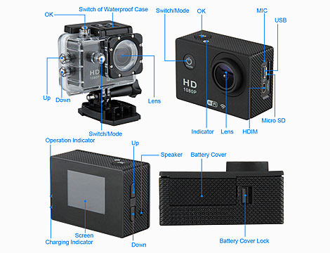 Mini videocamera HD waterproof + SD fino a 32 GB_N