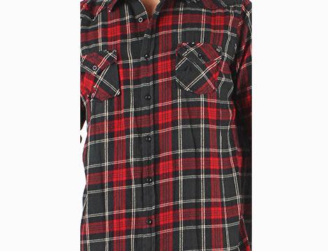Camicia scozzese rossa Absolut Joy dettaglio