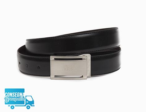 Cintura Ferrè in pelle con fibbia metallica