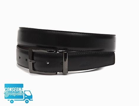 Cintura Ferrè in pelle con fibbia nera cromata