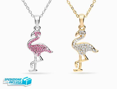 Ciondolo Flamingo e collana con cristalli swarovski