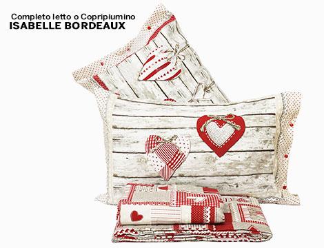 Completo letto o copripiumino Isabelle beige o bordeaux
