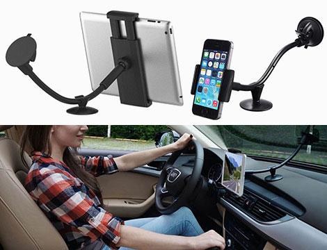 Doppio supporto smartphone e tablet auto 9 90 groupalia for Supporto auto tablet 7 pollici