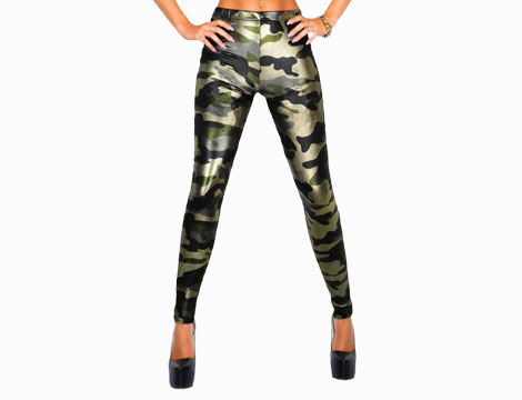 Leggings metallizzati camouflage