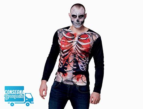 Maglia fotorealistica scheletro Creepy Carcass