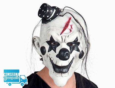 Maschera Horror Psycho Clown con capelli