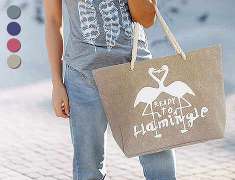 Maxi shopper Flamingo in canvas