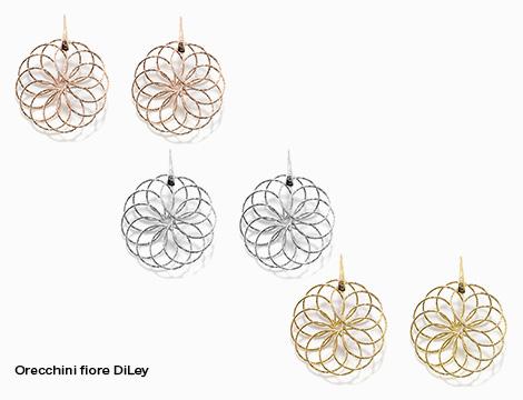 Orecchini pendente singolo DiLey artigianali fiore