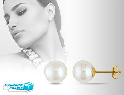Orecchini con perla placcati oro 14k