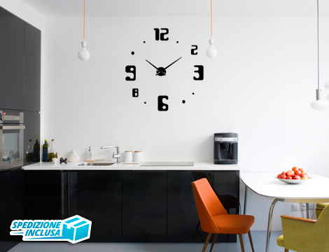 Offerta shopping orologi da parete adesivi 3d groupalia for Adesivi parete 3d