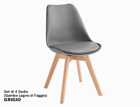 Set di 4 Sedie Gambe Legno di Faggio_N