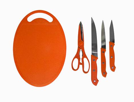 Set coltelli con forbice e tagliere_N