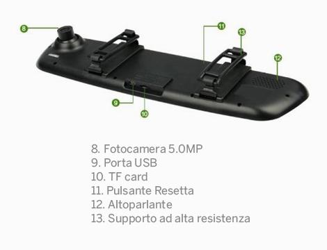Specchietto retrovisore con camera HD